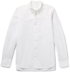 Sacai Typewriter Button-Down Collar Embroidered Cotton Shirt