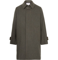 Sacai Velvet-Trimmed Puppytooth Wool-Blend Coat