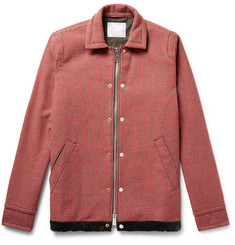 Sacai Suede and Velvet-Trimmed Wool-Blend Tweed Jacket