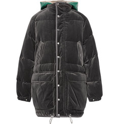 Sacai Faux Shearling-Trimmed Cotton-Velour Down Jacket