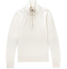 Maison Margiela Suede Elbow-Patch Wool Half-Zip Sweater