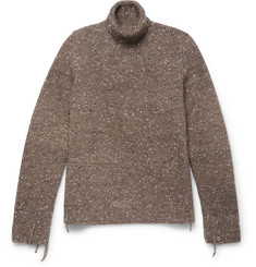 Maison Margiela Distressed Mélange Wool, Alpaca and Silk-Blend Rollneck Sweater