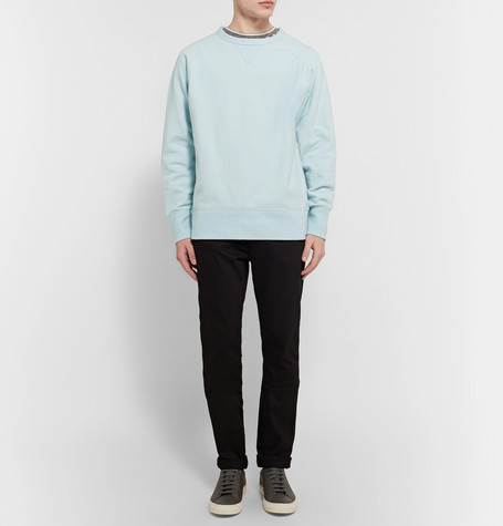 RAG & BONE Racer Loopback Stretch-Cotton Jersey Sweatshirt in Dusty Blue