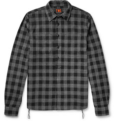 The Workers Club Checked Brushed Cotton-Flannel Half-Placket Shirt
