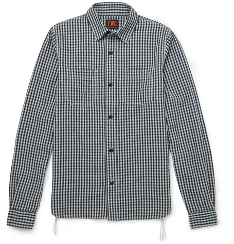 The Workers Club Checked Cotton And Linen-blend Flannel Shirt In Blue