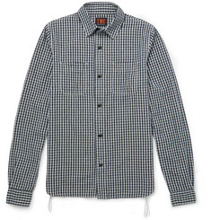 The Workers Club - Checked Cotton and Linen-Blend Flannel Shirt