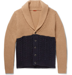 Barena Shawl-Collar Two-Tone Waffle and Cable-Knit Cardigan