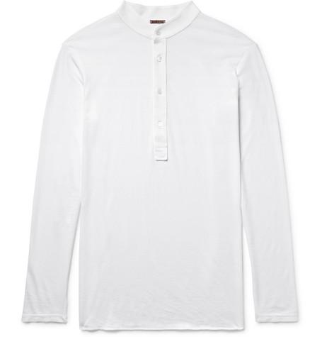 Livraison Gratuite Avec Paypal BARENA Cotton-jersey Henley T-shirt - White Mastercard Vente Pas Cher Choisir Un Meilleur z5Grf