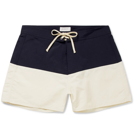 6410b1face Saturdays Surf Nyc Ennis Short-Length Colour-Block Swim Shorts In Navy