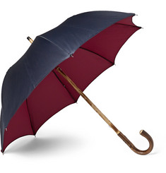 Francesco Maglia Lord Chestnut Wood-Handle Two-Tone Twill Umbrella