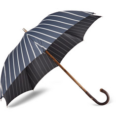 Francesco Maglia Lord Chestnut Wood-Handle Striped Twill Umbrella