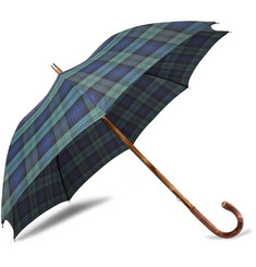 Francesco Maglia Lord Chestnut Wood-Handle Black Watch Checked Twill Umbrella