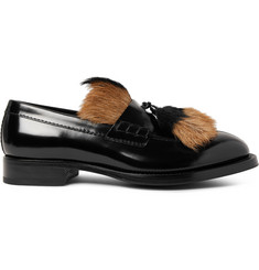 Prada Contrast-Trimmed Leather Tasselled Loafers