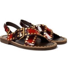 Prada - Studded Spazzolato Leather Sandals