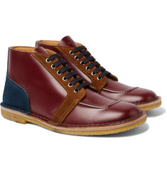 Prada Colour-Block Leather and Suede Boots