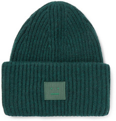 Acne Studios Appliquéd Ribbed Wool-Blend Beanie