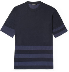 Issey Miyake Men Slim-Fit Striped Knitted T-Shirt