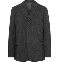 Issey Miyake Men Charcoal Crinkled Wool-Blend Blazer