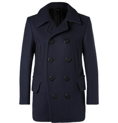 TOM FORD - Leather-Trimmed Felted Wool-Blend Peacoat