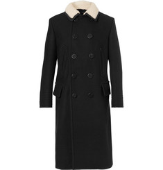 TOM FORD Slim-Fit Shearling-Trimmed Melton Wool-Blend Coat