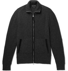 TOM FORD Nubuck-Trimmed Mélange Wool and Silk-Blend Zip-Up Sweater