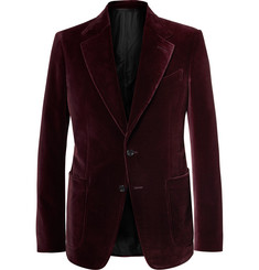 TOM FORD Burgundy Shelton Slim-Fit Velvet Tuxedo Jacket