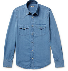 TOM FORD - Micky Slim-Fit Washed-Denim Western Shirt