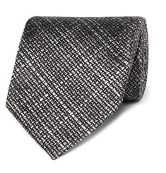 TOM FORD - 8cm Checked Woven Silk Tie