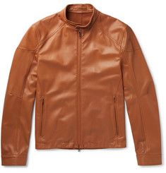Connolly Slim-Fit Leather Racing Jacket
