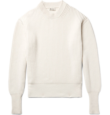 Ribbed Cashmere And Silk-blend Sweater - Off-white