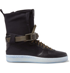 Nike + ACRONYM Air Force 1 Downtown Leather, Nubuck and Neoprene High-Top Sneakers