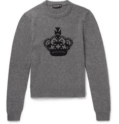 Dolce & Gabbana Crown Intarsia Wool Sweater