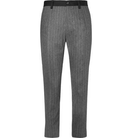 Dolce & Gabbana Slim-fit Striped Stretch-wool And Cotton-blend Trimmed Trousers In Gray