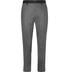 Dolce & Gabbana Slim-Fit Striped Stretch-Wool and Cotton-Blend Trimmed Trousers