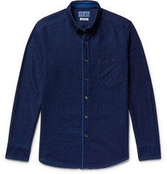 Blue Blue Japan Slim-Fit Button-Down Collar Indigo-Dyed Cotton-Twill Shirt