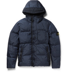 Stone Island Garment-Dyed Coated-Shell Hooded Down Jacket