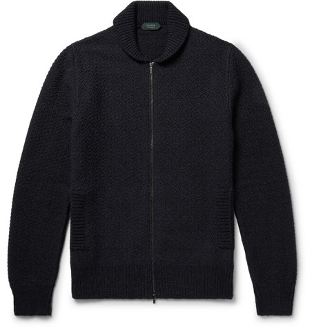 Incotex - Shawl-Collar Virgin Wool-Blend Zip-Up Cardigan