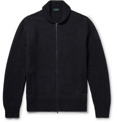 Incotex Shawl-Collar Virgin Wool-Blend Zip-Up Cardigan