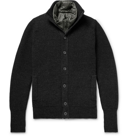 Incotex - Waffle-Knit Virgin Wool Cardigan with Detachable Quilted Shell Down Gilet - Charcoal