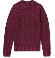 Incotex Cable-Knit Garment-Dyed Virgin Wool Sweater