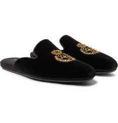 Dolce & Gabbana - Embroidered Velvet Backless Slippers
