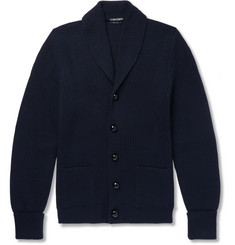 TOM FORD - Shawl-Collar Ribbed Wool Cardigan