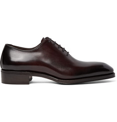 TOM FORD Gianni Whole-Cut Burnished-Leather Oxford Shoes
