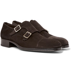 TOM FORD - Edgar Suede Monk-Strap Shoes