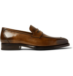 TOM FORD Wessex Burnished-Leather Penny Loafers