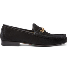 TOM FORD Chain-Trimmed Calf Hair Loafers