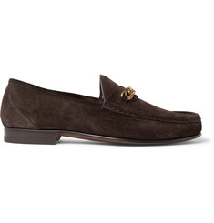 TOM FORD Chain-Trimmed Suede Loafers
