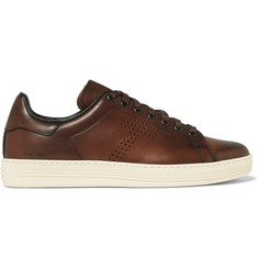 TOM FORD Burnished-Leather Sneakers