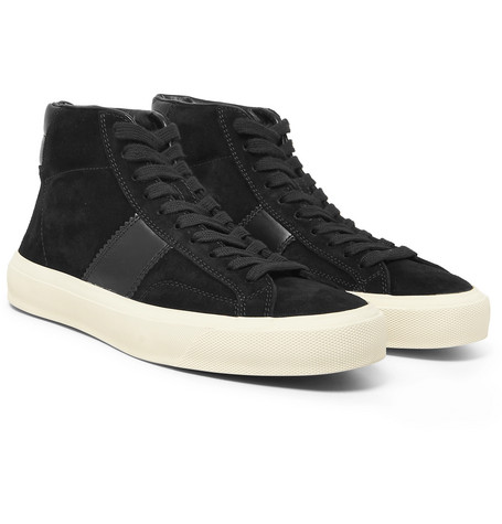 Leather-panelled Suede High-top Sneakers - Black