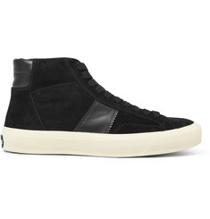 TOM FORD Leather-Panelled Suede High-Top Sneakers